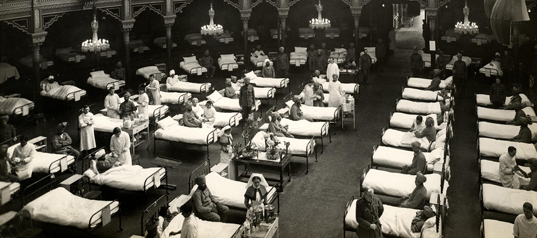 1914, World War 1. The Dome Hospital, showing some of the 689 beds in the whole hospital. These beautiful seaside palaces have been converted into hospitals for Indian troops, and are fitted with every modern convenience. Photographer: H. D. Girdwood